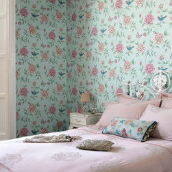"""Graham & Brown Isabelle Wallpaper - Takes its inspiration from a French wallpaper document from the 18th Century. The birds and butterflies add a quirky touch to the wallpaper. This blue wallpaper is paste the wall so it hangs in half the time of normal decorating. About Graham & Brown Founded in 1946 by friends Harold Graham and Henry Brown Graham & Brown has always been about brightening the home. From modest beginnings with surplus metallic paper and an embossing machine Graham & Brown has grown to include a range of products such as Superfresco - easy to hang and able to be painted or washed - and other """"""""paste the wall"""""""" products that allow homeowners greater ease in hanging wallpaper themselves. The company's product line today includes wall art paint and children's decor in addition to its famous wallpaper."""