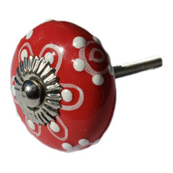 DaRosa Creations - Ceramic Drawer Knob / Cabinet Pull in Bright Red with Embossed dots in white - Ceramic Drawer Knobs / Cabinet Pull in Bright Red with Embossed dots in white