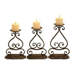 """Benzara - Candle Hold with Elegant Design and Structure - Set of 3 - Candle Hold with Elegant Design and Structure - Set of 3. Create an indelible impression on your guests during parties with this magnificent set. It comes with a following dimensions 8""""W x 4""""D x 13""""H. 8""""W x 4""""D x 12""""H. 8""""W x 4""""D x 12""""H."""