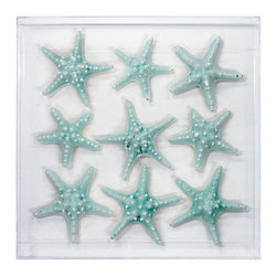 Kathy Kuo Home - Pismo Coastal Teal Blue Knobby Starfish Display Case - by Karen Robertson - Why not make a wish on these sea stars? They bubble with life and glimmer with splendor, these celestial sea creatures. This cluster of sea stars is colored in a lovely shade of sea blue, which enhances their magical quality. Hanging on your living room walls, these beauties will impart the enchantment of the tide pools.