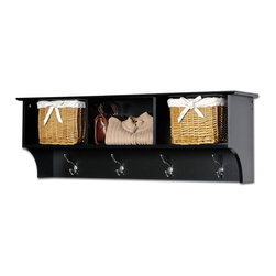 Prepac Cubbie Shelf in Black - This Cubbie Shelf for Entryway in Black is suitable for any front hallway, bedroom or home office. Its 3 storage compartments are ideal for hats, gloves and schoolbooks, while 4 hooks accommodate coats and jackets. This shelf comes with an easy to install two-piece hanging rail system and is an ideal companion. Constructed from a combination of high quality, laminated composite woods with an attractively profiled MDF top.