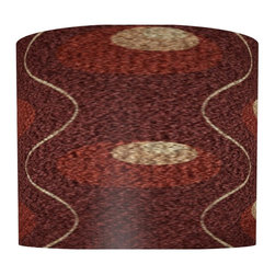 illumalite Designs - Burgundy Circle Lamp Shade - Includes one harp. Brass finish spider fitting. Made from polystyrene. Made in USA. 11 in. Dia. x 9 in. H (1 lbs.)Circles of color against a burgundy background create a beautiful look on this shade. The perfect way to refresh the look of any lamp.