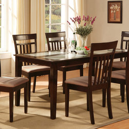 """East West Furniture - Capri 7Pc Set with GlassTable and 6 Microfiber Seat Chairs in Cappuccino - Capri dining sets offer your kitchen modern sophistication with a classy and smart aesthetic design.; This Capri table and chairs dinette features a glass top for a refined, modern appearance.; Rectangular dining table with four straight legs for a clean and sophisticated modern design.; Stylish dinette manufactured from quality Asian solid wood.; Finished in a rich and luxurious cappuccino.; Wood seats or upholstered chairs are available.; Features four panels of tempered, frosted glass.; Weight: 167 lbs; Dimensions: Table: 60""""L x 36""""W x 30""""H; Chair: 17.5""""L x 17""""W x 38.5""""H"""