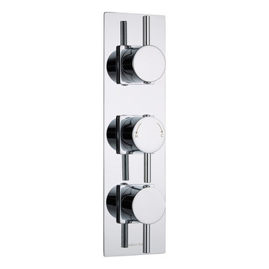 Hudson Reed - Quest Thermostatic 3 Outlet Shower Valve with Slim Chrome Trim & Round Handles - This British made triple thermostatic shower valve with diverter from Hudson Reed features a slim trim plate with a chrome finish and stylish handles. Constructed from solid brass, this durable shower valve supplies water at a pre-set temperature to three outlets such as a fixed shower head, body sprays and a shower handset. Incorporating ceramic disc technology, this triple shower valve has an anti-scald device for a safer showering experience.