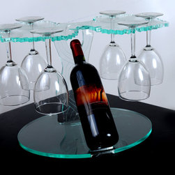 Unique modern wine rack display with wine glass holders - Asencilimaging
