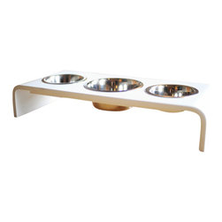 "Trendy Pet - Triple Bowl Raised Feeder For A Dog Or Cat, White, 4"" - Do you have more than one pet? This feeder is the perfect answer for you."