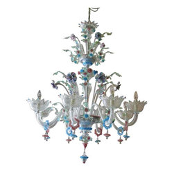 Vintage Italian Murano Chandelier - Stunning multi-colored, eight arm vintage Murano chandelier from Barovier and Toso, Island of Murano (Venice) c. 1950's.  Immaculate condition, complete.