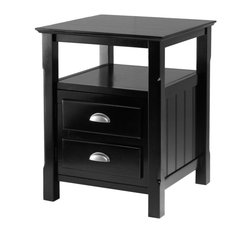 Winsomewood - Timber Night Stand - You're moving up in the world and so should your bedroom. Accent your bed with this detailed nightstand. Two drawers hold whatever you want out of sight, but accessible, and the open shelf holds books or magazines. Solid wood construction will last for years.