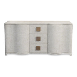 Kathy Kuo Home - Crosby Ivory Linen Hollywood Regency Sideboard - Intriguing shapes and curved lines form a versatile showpiece reminiscent of Old Hollywood glamour. Ample storage and tabletop space create an entertainment center, sideboard or buffet. Three drawers hold necessities neatly behind natural linen and antique brass handles. The slatted back offers easy access for wires and plugs.