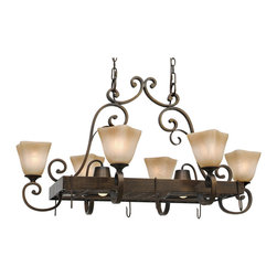 Golden Lighting - Meridian 8-Light Pot Rack - This lighting fixture serves double duty, providing elegant illumination while keeping your pots conveniently at hand. With its flat, scrolling arms and square antiqued marble glass shades, it will put your kitchen in a Mediterranean mood.