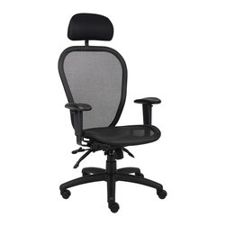 BossChair - Boss Multi Function Mesh Chair with Headrest - Ergonomic open mesh back designed to provide exceptional back support. Open mesh seat, ergonomically designed. Adjustable height and width armrests. 3 paddle multi-function tilting mechanism, which allows the seat and back to be independently adjusted and locked in any position. Pneumatic gas lift seat height adjustment. Adjustable tilt tension control. Large 27 nylon base. Hooded double wheel casters. With optional headrest.