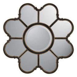 Paragon Decor - Gothic Remembrance - With quatrefoil design elements, our gothic mirror is finished in black and antique gold.  Center mirror is 16h x 16w.