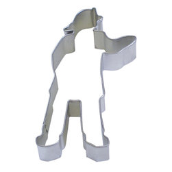 RM - Firefighter 4.5 In. B1498X - Firefighter cookie cutter, made of sturdy tin, Size 4.5 in. tall, Depth 7/8 in., Color silver