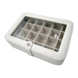 Elaine Jewelry Box - 10.5W x 2.3H in. - The Elaine Jewelry Box may be one of the most practical cases you'll ever own. Ideal for traveling or for organizing rings earrings or beads this handy and versatile box is rectangular in shape and covered in ivory white faux leather. The hinged lid has a clear plastic viewing window on top. Open the lid to access a total of 24 equally-sized compartments ... perfect for the ultimate organization of almost anything! Each compartment is lined by hand with sand-colored suede fabric which is soft and safe against even the most precious jewelry. The lid closes with a snap closure which is decorated with a flower-shaped design in faux crystals. About MeleEmidio Mele an Italian immigrant to the United States came to New York City in 1896 and learned to make jewelry boxes as an apprentice before founding Mele Manufacturing in 1912. He began by designing and building elegant displays for jewelry store windows. His jewelry box making business grew throughout the 1900s responding to demands for boxes to hold Purple Hearts during WWII and developing as a popular household name for quality jewelry boxes. Today Mele Jewelry Box is known as the Mele Companies which encompass various divisions under the Mele name. Now based in Utica N.Y. Mele still upholds the family atmosphere on which it was founded and remains America's foremost name in jewelry cases.
