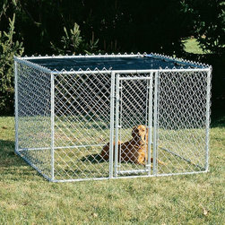 Mid-West Metal Products - Midwest K9 Steel Chain Link Portable Yard Kennel Multicolor - K9644 - Shop for Dog Crates and Kennels from Hayneedle.com! The unique patented design of the Midwest K9 Kennel allows easy assembly using only simple tools. The small and medium kennels come with a woven polyethylene sunscreen which provides 80% protection against potentially harmful sun rays and keeps your pet cool. This kennel boasts a rounded corner construction to prevent unwanted injury to your pet. The small kennel can fit in the back of a pickup truck and it features a door that can be re-positioned to your liking. The secure door latch on all sizes can be opened with one hand while handling your pet with the other. SIZE DIMENSIONS: K9 Kennel Small: Overall: 6L x 4W x 4H feet Door: 16.5W x 43H inches Door opening: 16W x 43.5H inches Kennel weight: 78 pounds K9 Kennel Medium: Overall: 6L x 6W x 4H feet Door: 16.5W x 43H inches Door opening: 16W x 43.5H inches Kennel weight: 85 pounds K9 Kennel Large: Overall: 10L x 6W x 6H feet Door opening: 16W x 67H inches Weight: 155 lbs. About Mid-West Metal ProductsIn 1921 Mid-West Metal Products made only one item a Kruse Switch Box Support and over the years began manufacturing millions of wire and sheet metal component parts. By 1960 they were producing training crates for pets. Today Midwest Homes for Pets a division of Mid-West Metal Products produces and markets a variety of pet containment products. These products include dog crates training puppy crates dog kennels cat playpens bird cages vehicle barriers soft-sided carriers grooming tables and much more. They also manufacture a full line of pet accessories like beds and feeding dishes.