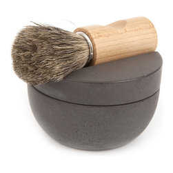 Iris Hantverk / Handmade in Sweden - Iris Hantverk Concrete Shaving Kit - Add a touch of Scandinavian style and Swedish craftsmanship to your daily routine with this graceful shaving cup from Iris Hantverk. It comes complete with a curving concrete container, a hand-bound badger hair and maple brush, and a bar of sandalwood soap.