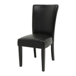 Steve Silver Furniture - Steve Silver Willow Parson Side Chair with Black Vinyl Seat - Providing style and comfort to any room, Willow Leather Parsons Chairs are covered in a dark brown vinyl and are finished with rich black legs.