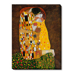 """overstockArt.com - Klimt - The Kiss (Full View) Oil Painting - 30"""" x 40"""" Oil Painting On Canvas Hand painted oil reproduction of a famous Klimt painting, The Kiss (Full View). The original masterpiece was created in 1907-08. Today it has been carefully recreated detail-by-detail, color-by-color to near perfection. Gustav Klimt (1862-1918) was one of the most innovative and controversial artists of the early twentieth century. Influenced by European avant-garde movements represented in the annual Secession exhibitions, Klimt's mature style combines richly decorative surface patterning with complex symbolism and allegory, often with overtly erotic content. This work of art has the same emotions and beauty as the original. Why not grace your home with this reproduced masterpiece? It is sure to bring many admirers!"""