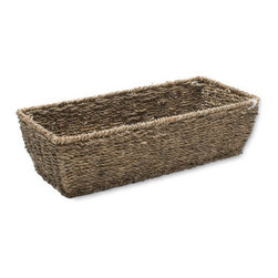 Tag - Sm Rectangular Seagrass Basket, Coffee by Tag - Our Sea grass is twisted by hand into twine and woven over hand-formed, powder coated metal frames for stability