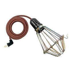 Manhattan Project Design Shop - The Allen Lamp - Factory fashion! Bring some industrial chic pendant lighting into your space with this brass-finish metal wire lightbulb guard with articulated hook and choice of chromatic cords. Hand-assembled in Philadelphia, this light is not intended for outdoor use.