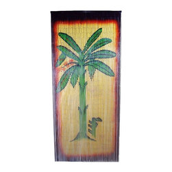 "Bamboo54 - Bamboo Banana Tree Scene - Bamboo54 Banana tree scene is made from authentic bamboo and hand strung. One curtain contains 90 strands across and is the perfect door hanging accessory. Hand painted on both sides. Measures approximately 36"" x 80"""