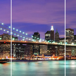 Home Decor - New York Panoramic Wall Decals - This NYC wall art is a colorful night scene of city life, dominated by the iconic Brooklyn Bridge. With peel and stick brilliance, this city skyline wall art makes a beautiful, New York City focal point.  Imported from Italy