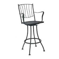 """Woodard - Aurora Swivel Bar Stool - Arm - The beauty and character of hand-formed metal, blended with intricate details, allows the Woodard Wrought Iron Collection to fit any style or taste. The Aurora Collection Swivel Bar Stool has a mesh seat for elegance and optional cushions for comfort, combining the durability and beauty of Woodard's authentic designs. Features: -Seat height: 29.2"""". -Overall dimensions: 46.8"""" H x 23"""" W x 21.1"""" D. -With arms. -Swivel seat. -Rust proof. -Optional cushion not included. -Available in a wide variety of finishes. -Suitable for commercial or residential use . About Woodard Wrought Iron Each Woodard frame is purified and dipped inot a bath of zinc phosphates (rust inhibitors) during our state-of-the-art MetalGuard finishing products. Wrought Iron frames are electrostatically coated, creating a permanent seal that locks out rust. They are also finished with the highest quality powder-coat paint finish for durability and beauty. Woodard continues to hand-craft each piece of wrought iron furniture-a tradition handed down through generations. Combining the heaviest available solid wrought iron stock with the best steel, our individual craftsmen use an anvil and hammer to forge the intricate details found on many Woodard frames. Woodard designers meticulously study each product style with the goal of preserving authentic designs. Fabrics are selected on the basis of quality, coloration, trend, and in some cases, historical significance. Finish choices range from colorations which are current in vogue to those who are traditional and timeless. Design integrity by Woodard is a reality-not a concept. Woodard Limited Warranty Woodard warrants to the original purchase (within the 50 United States and Canada) that the furniture you have selected is free from defects in material and workmanship for fifteen years for residential use of Classics and Aluminum collections, three years for residential use of Wicker and Table Top and commercial use of"""