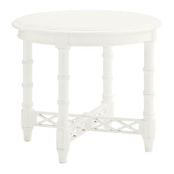 Lexington - Tommy Bahama Home Ivory Key Edgehill Round Lamp Table - The Edgehill Round Lamp table embodies the casual lifestyle of island living while fulfilling the desire for sophisticated living. The design features a round table top supported by bamboo inspired turnings on the legs for a Bermuda feel. Striking diamond design along the cross stretchers adds to the visual interest while providing table support. All finished in a Somers Isle white finish, this piece is sure to bring a blend of refinement and calmness to your home.