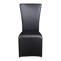 Diamond Sofa - Diamond Sofa Dining Side Chair in Black (Set of 2) - The perfect example of sophistication this chair by Diamond Sofa features a simple sleek design that is impossible not to love. The Black leather-like finish on the seats and backs give a comfortable supple feel. The leather-like finish makes clean up a snap and will last for years of enjoyment. These chairs can be used with any table from Diamond Sofa to bring a clean crisp contemporary ensemble together. Chair dimensions are 19 inches by 23 inches by 40 inches and they are packaged two chairs per box.