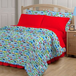 Global Home Living - Bright Cars 6-8 Piece Comforter and Sheet Set - Beep-beep-mmm-beep-beep, yeah. Bedtime will be an adventure with this cozy Bright Cars bedding featuring colorful cars on a sky-blue background and bright red sheets.