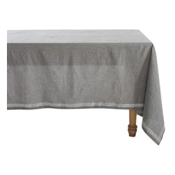 Coyuchi - Coyuchi Simple Stitch Chambray Tablecloth Charcoal - Linen and cotton yarns, dyed slightly different hues before weaving, lend our tablecloth soft, nuanced color and wonderful drape. Stitched stripes run along each edge and cross at the corners.