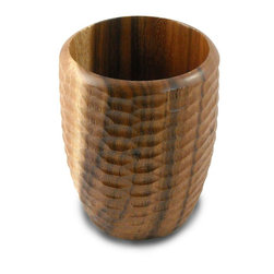 Enrico - Enrico Acacia Wood Utensil Vase, Natural - Each item in the Acacia Honeycomb natural grouping features an enigmatic and tactile honeycomb texture carved into the outer surface and a smooth interior. These products are all hand-carved and finished solid acacia, so each piece reflects the variations natural to handmade items. All items are finished in a food-safe lacquer. We recommend hand washing and drying for all items.