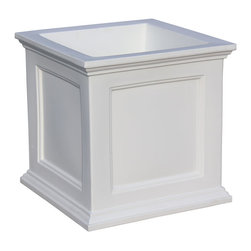 """Mayne Inc. - Fairfield Patio Planter 20x20 White - Have the look of wood without the upkeep with our high-grade polyethylene planters. Long-lasting beauty, durability and quality.  Built-in water reservoir encourages healthy plant growth by allowing plants to practically water themselves. Beautiful New England design adds a charming touch to any patio or deck. Our molded plastic planters are made from high-grade polyethylene, double wall design. Sub-irrigation water system, encourages root growth. Inside dimensions are 15.5""""L x 15.5""""W x 13""""D, approximately 9.5 gallon soil capacity, water capacity is approximately is 8.75 gallons (33 litres)."""