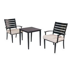 """Marshall 3-Piece Patio Bistro Set with Textured Sand Cushions - Mix and match cushions with """"Bare"""" version at homedepot.com"""