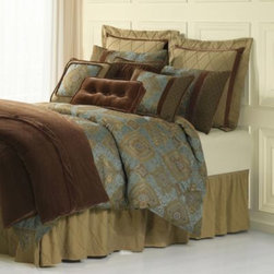 Homemax Imports - Bianca Luxury 4-Piece Comforter Set - With a beautiful mix of exotic designs and rich colors, the Bianca Luxury 4-Piece Comforter Set instantly creates an opulent look in your bedroom. The regal bedding features damask elaborately detailed with medallions in glistening blue and brown hues.