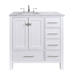 Malibu Pure White Single Sink 36-Inch Bathroom Vanity - This pure white cabinet (made of solid oak) with a Carrara marble top is cozy and elegant.