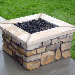 """Fire Pits - Great for Fall and Winter - The 150,000 BTU handcrafted square stone fire pit is custom made with your choice of the base stone and cap stone colors. The square stone fire pit is fabricated around a powder coated welded steel frame which will never rust or corrode on your patio or deck. This all-weather fire pit comes standard with a manual on/off valve, a heavy-duty burner pan to hold your lava rocks, and a flex line to hook-up to your gas source. For Natural Gas, we supply a 24"""" flex line with a 1/2"""" fitting to hook to your gas supply. For Liquid Propane (LP), we supply a 10"""" hose with a quick disconnect mounted on one side of the fire pit which allows you to disconnect the hose when not in use."""