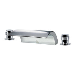 MR Direct - MR Direct 719-C Chrome Roman Tub Faucet Set - The 719-C Roman Tub Faucet Set is the ultramodern choice in bathtub fixture designs. Water gently cascades into the tub along the entire seven-inch width of this extraordinarily sleek spout. Dual handle controls install on either side and match the faucet's European styling. The 719-C presents an attractive bath experience whether installed in the chrome, brushed nickel, or oil-rubbed bronze finish. Solid brass construction assures that this unit will last and our testing proves it. With ADA approval we confidently offer a limited lifetime warranty.