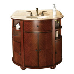 AVANITY OXFORD 38 in. Bathroom Vanity - The Oxford Vanity has a unique half moon design that is classic in a dark Oak finish. This vanity gives you abundant storage with four soft close doors and one concealed drawer. The antique bronze hardware accent this piece. Coordinating beveled mirror is also available.