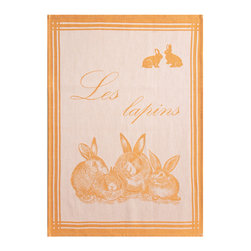 Coucke - Coucke Les Lapins French Dish Towel - Big Design - From Coucke, a soft cotton towel for your kitchen, great for wiping down counters, drying dishes, and drying hands. Les lapins (the rabbits), in orange and white, features bunnies. The design is woven into the towel, not printed on top, for lasting durability.