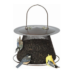 No-No Feeder - Bronze No/No Birdfeeder with Roof - The Bronze No/No Bird Feeder is all metal no wood to rot and no plastic to break. All No/No feeders are squirrel damage resistant.