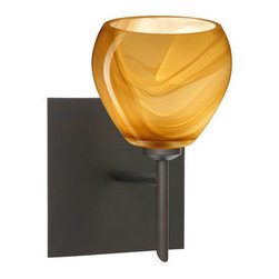Besa Lighting - Besa Lighting 1SW-5605HN-SQ Tay Tay 1 Light Halogen Bathroom Sconce - The Tay Tay is a compact handcrafted glass, softly radiused to fit gracefully into contemporary spaces. This unique decor is handcrafted, with layered swirls of yellow-amber and golden-brown against white, finished to a high gloss. It's classic swirl pattern and high gloss surface has a truly florid gleam. Honey is a hand-blown glass designed to have a shiny and polished finish. The glass is gathered and rolled into shape a unique pattern is formed that cannot be replicated. This blown glass is handcrafted by a skilled artisan, utilizing century-old techniques passed down from generation to generation. Each piece of this decor has its own unique artistic nature that can be individually appreciated. The mini sconce is equipped with a decorative lampholder mounted to either a low profile round or square canopy.Features: