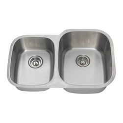 PolarisSinks - Polaris PR305 Offset Double Bowl Stainless Steel Sink - Stainless Steel is the most popular choice for today's kitchens due to its clean look and durability. The beautiful brushed satin finish helps to hide small scratches that may occur over the lifetime of the sink. Our Stainless Steel sinks are made from high quality 18 gauge steel. Most models are made of one piece construction that ensures the sturdiest kitchen sink you will find. Our sinks are made from 304 grade stainless steel that contains 18% chromium and 8-10% nickel and are guaranteed not to rust. Each sink is fully insulated and has a sound dampening pad. Our stainless steel sinks are backed by a Limited lifetime warranty. Each sink comes with a cardboard cutout template and mounting hardware.