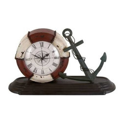 """Benzara - Durable Metal Table Clock with Sophisticated Style - Durable Metal Table Clock with Sophisticated Style. Displaying your love for water, this showpiece is a perfect addition to your decorative accessories. It comes with a following dimension 14""""W x 5""""D x 8""""H."""