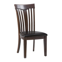 Jofran - Jofran 836-947KD Contoured Slat Back Side Chair with Upholstered Seat (Set of 2) - This chair has a sophisticated style with an urban edge that is not overpowering. Working well in casual or contemporary homes, this chair's main attraction is its curving seat back made of varied size slats. A padded seat cushion offers an additional element of comfort to the piece so your family can eat in comfort. This chair is complete with a medium-dark finish and is available at an affordable price-point.