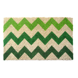 Entryways - Chevron Handwoven Coconut Fiber Doormat - Designed by an artist, this distinctive mat is a work of art that will add a welcoming touch to any home. It is from Entryways' handmade collection and meets the industry's highest standards. This decorative mat is handsomely hand woven and hand stenciled.
