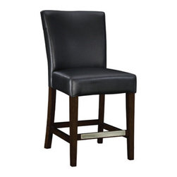 "PWL273-918 - Set Of 2 Black Bonded Leather Counter Stool, 24"" Seat Height - Set of 2 black Bonded leather Counter stool, 24"" Seat Height.  The black leather Counter stool is the perfect piece that is sure to complement any decor. The sleek ""Light Merlot"" finished legs and the ""Antique Brass"" foot rest add a touch of interest to this somewhat simple piece. The stool is covered in rich black bonded leather. The seat height measures 24"".  Counter stool measures:  19 x 24-1/2 x 39"" tall, Seat Height: 24"".  Some assembly required.  Material Content: solid wood frame, rubberwood legs, bonded leather, polyurethane foam pad."