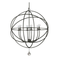 Z Gallerie - Eclipse Chandelier - English Bronze - Absolutely avant-garde, our very contemporary Eclipse Chandelier takes any room from the average daily requirement to the positively chic. The chandelier is formed of interconnecting metal bands which form the open sphere and enclosed with three arm, or six arm light fixture, all hand-painted in a English bronze finish. A heavy solid glass drop at the bottom is the just-right finishing touch.  We recommend professionally hardwired.