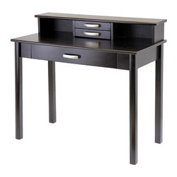 Winsome Wood - Contemporary Computer Desk & Hutch w 3 Drawer - Sleek, streamlined design elements will make this modern computer desk and hutch an instant highlight as part of your office decor. It features a large bottom drawer for pencils and supplies as well as two smaller upper drawers for paper clips and other items. It is finished in espresso. Set includes Computer Desk and Hutch. Made of solid wood. Espresso finish. Some assembly required. Desk: 20.5 in. W x 42 in. L x 31.1 in. H. Hutch: 8 in. W x 42 in. L x 6 in. H