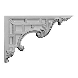 """Ekena Millwork - 9""""W x 6 1/4""""H x 5/8""""D Nestor Stair Bracket, Right - 9""""W x 6 1/4""""H x 5/8""""D Nestor Stair Bracket, Right. With the beauty of original and historical styles, decorative stair brackets add the finishing touch to stair systems. Manufactured from a high density urethane foam, they hold the same type of density and detail as traditional plaster stair bracket products. They come factory primed and can be easily installed using standard finishing nails and/or polyurethane construction adhesive."""